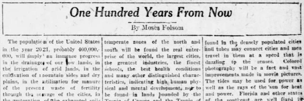 ¿Qué pasará en 2021? Esto es lo que predijo la gente en 1921   Noticias de Buenaventura, Colombia y el Mundo