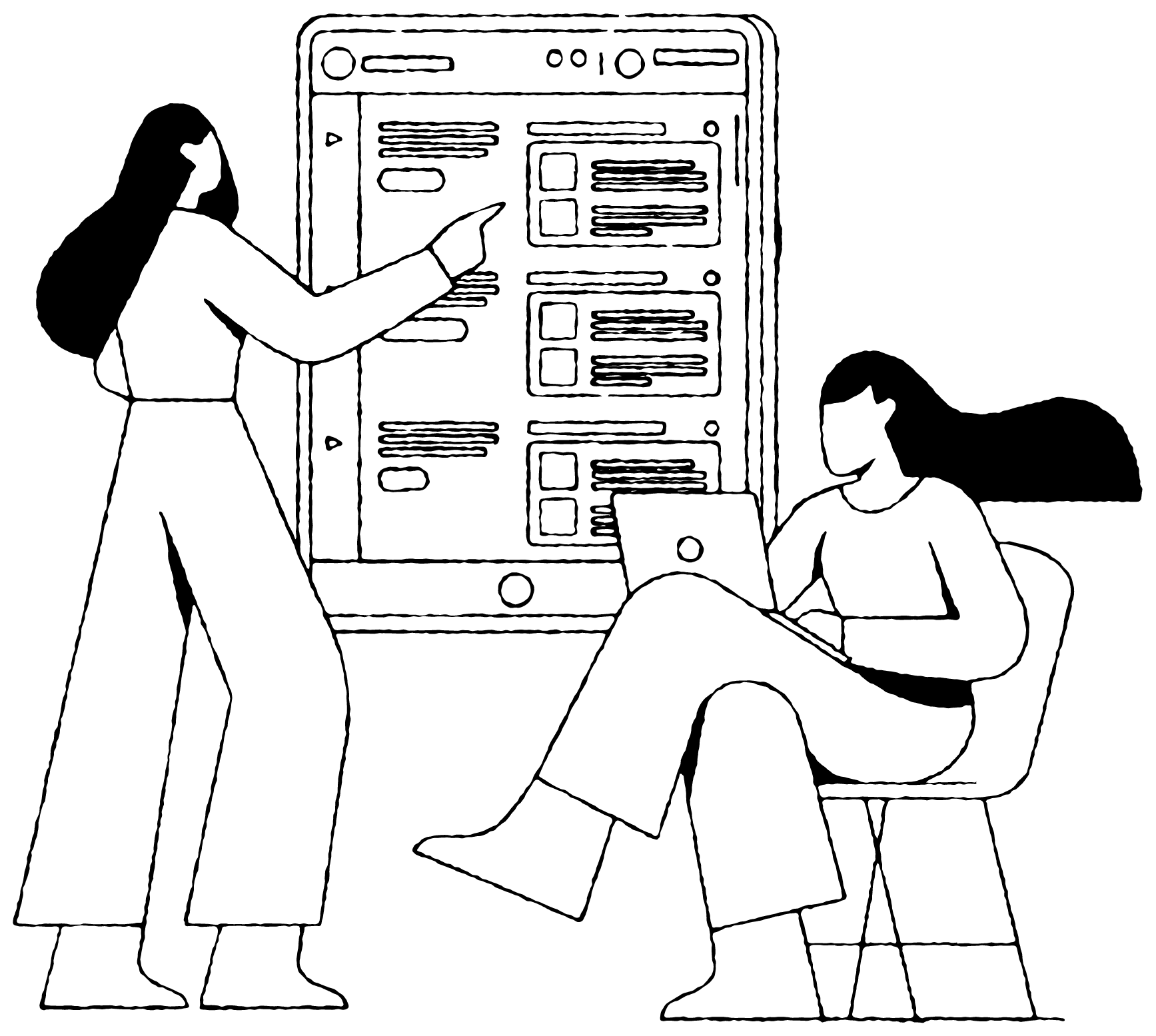 Two people pointing and looking at the same tablet screen