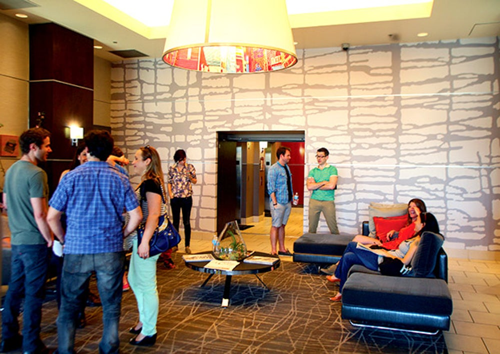 Downtown Project Visitors in the Ogden Lobby