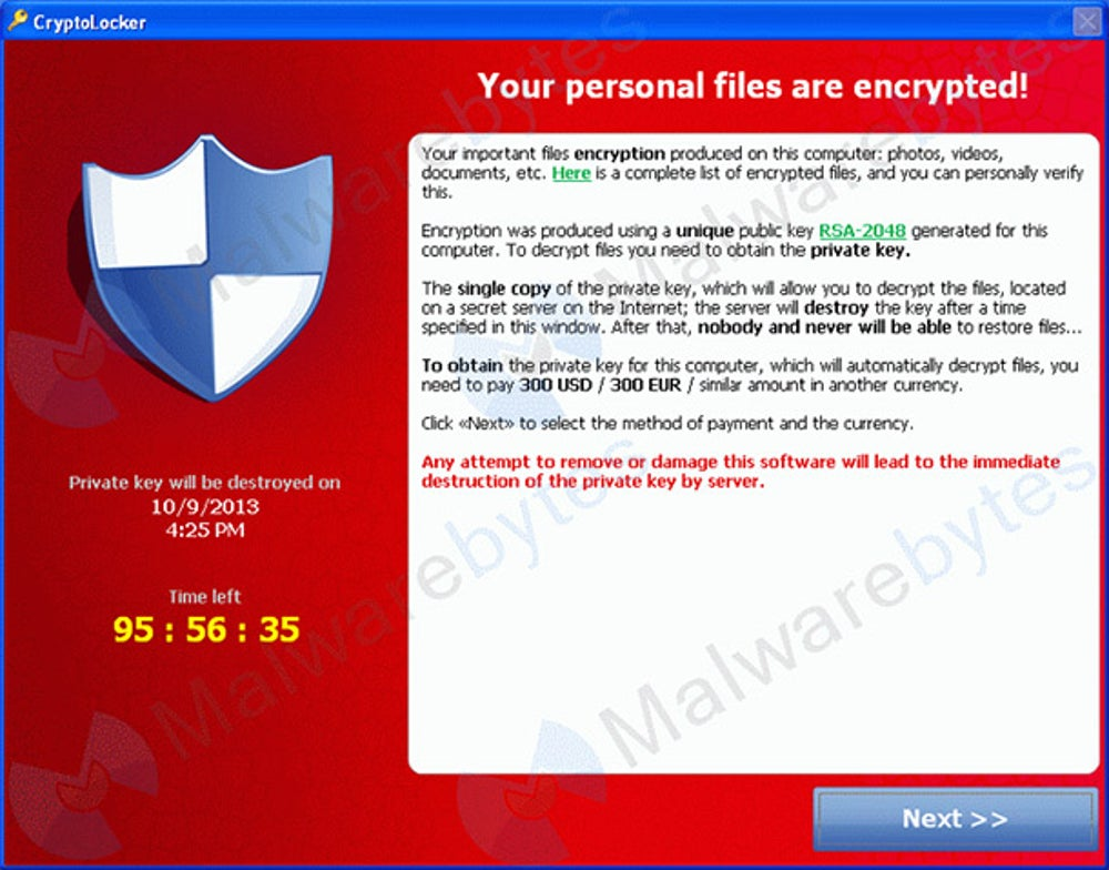 True: It's a virus called CryptoLocker