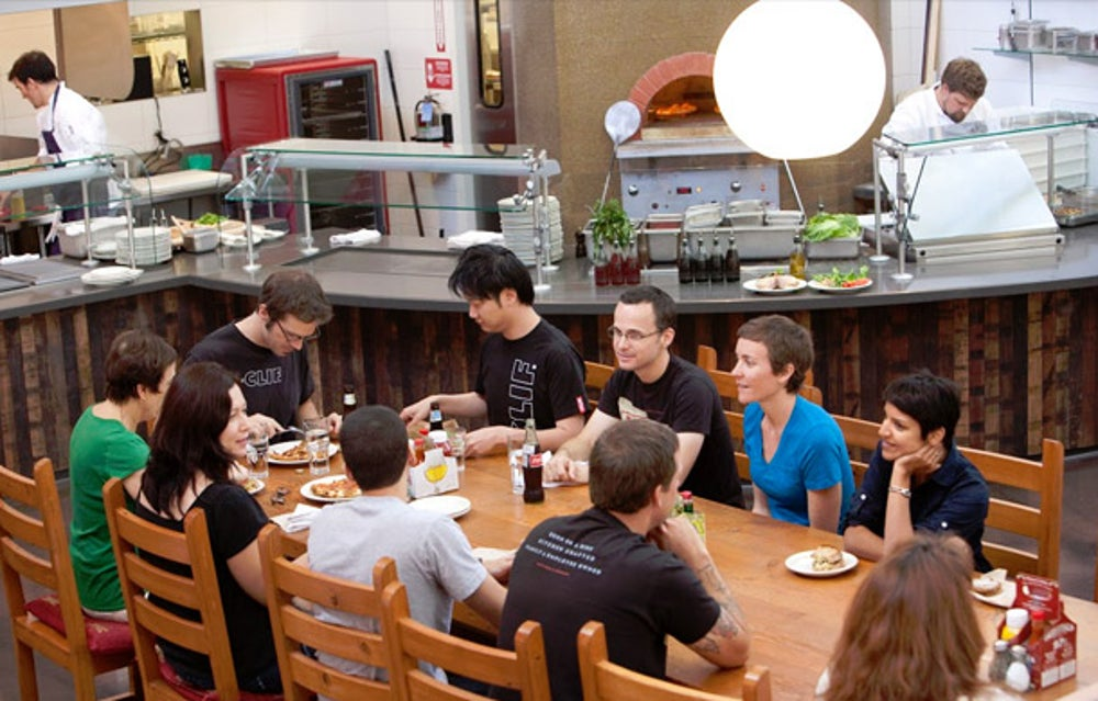 A communal table at Clif Bar