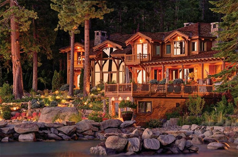 This 2.5-acre home in Snug Harbor, just one of three parcels Ellison owns in Lake Tahoe, is on the market for $28.5 million. He's reportedly working on building another home that's three times the size of this one.