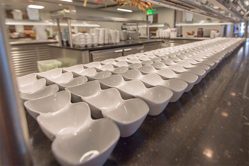Employees get a wide array of options for their three-portion bowls.