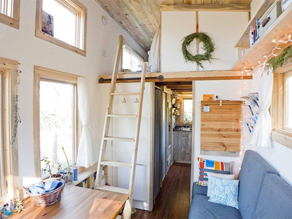 A California couple also built their 170 square-foot home on a flatbed trailer.