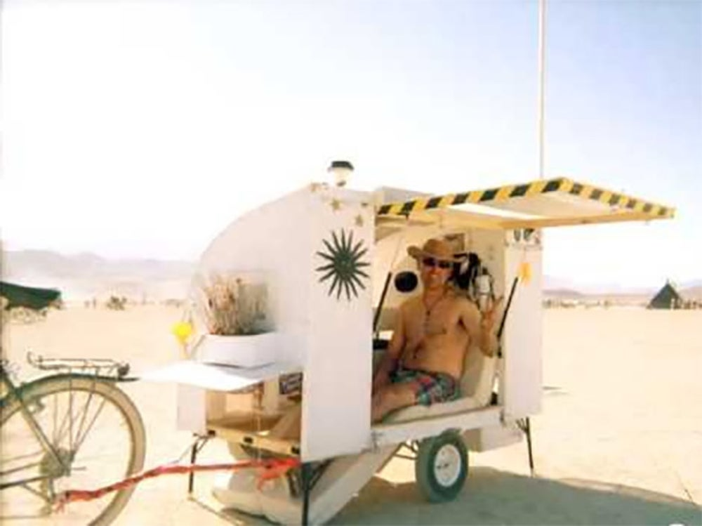 This 15 square-foot bike camper home was designed to be a residence for the Burning Man Festival.