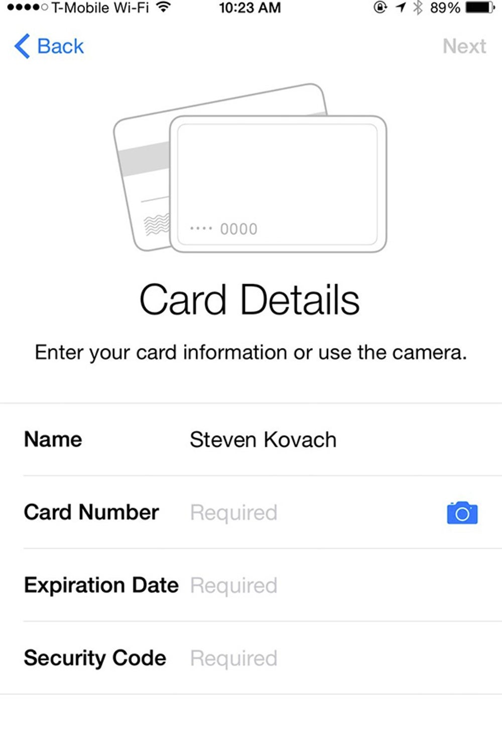 The easiest way to input a new card is to take a photo of it. Tap the camera icon.