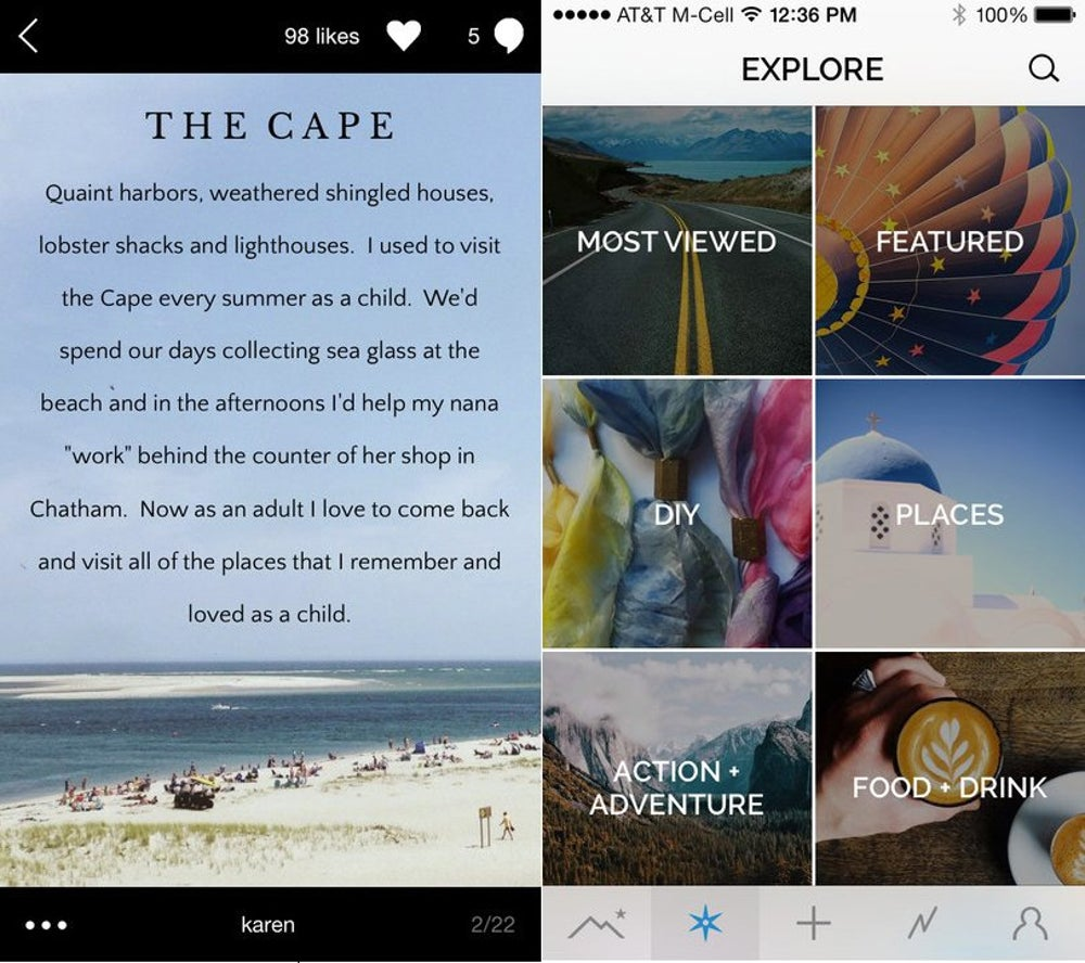 Steller lets you create stories with photos, videos, and text.