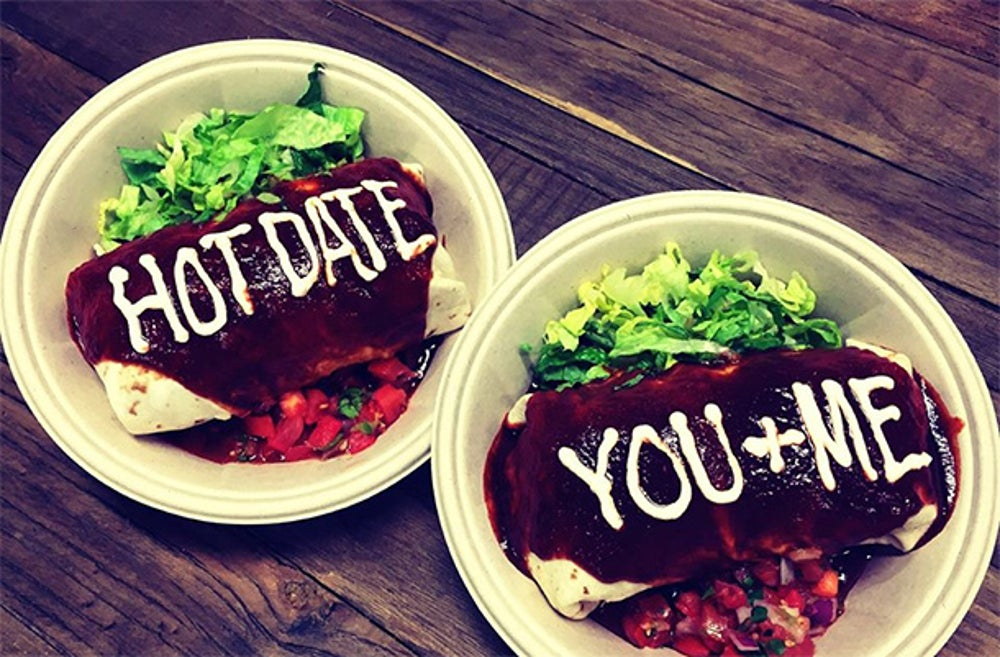 Embrace PDA at Qdoba for a free burrito.