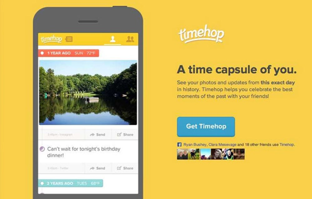 TimeHop curates a digital archive of tweets and FaceBook statuses.