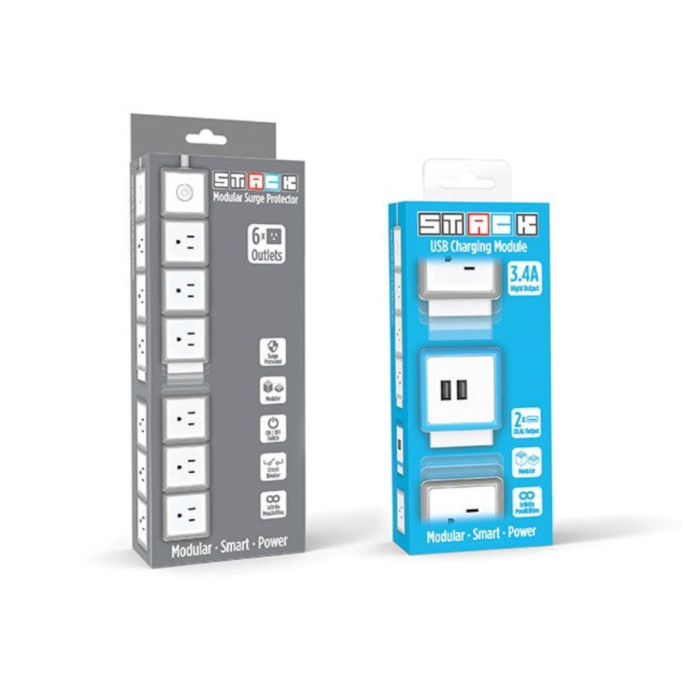 STACK 6-Port Modular Surge Protector + USB Charging Module