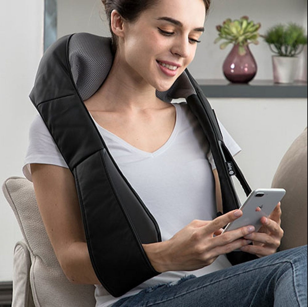 Tekjoy Shiatsu Kneading Massage Pillow with Extended Velcro Strap