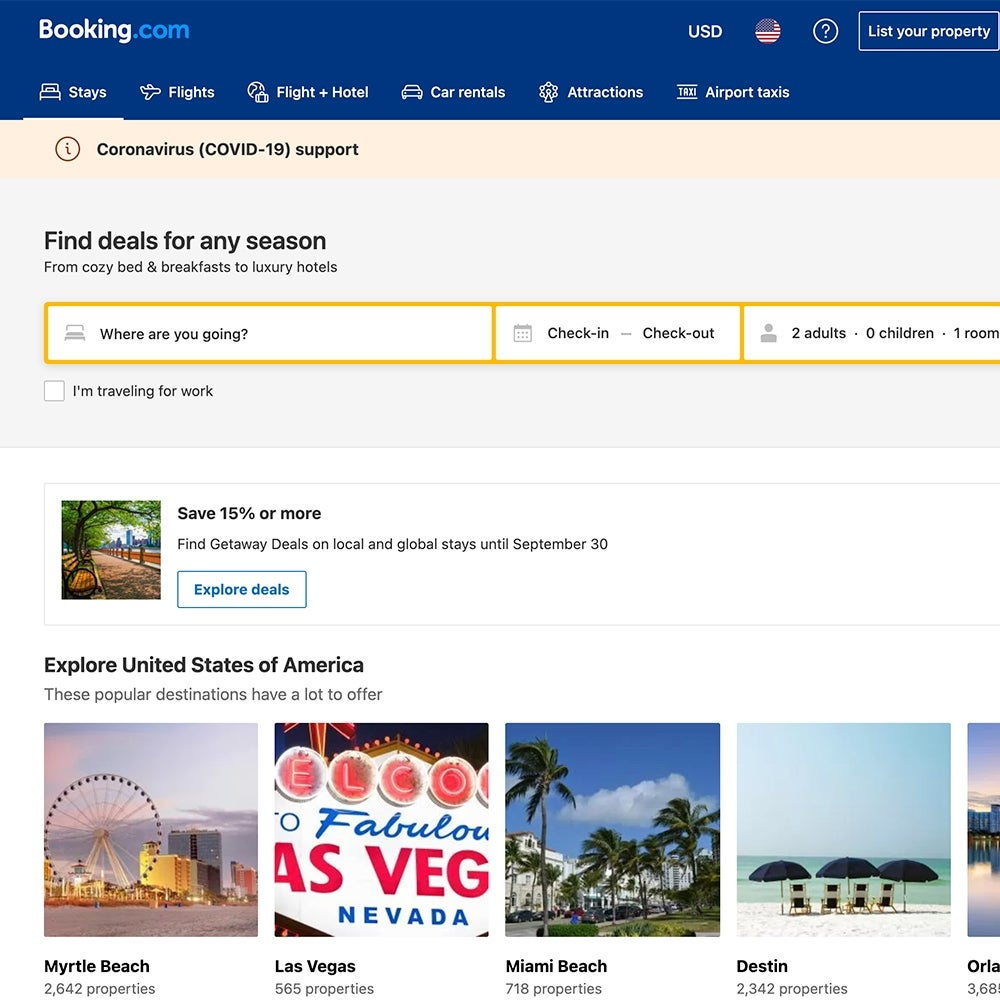 Best for Non-Hotel Lodging: Booking.com