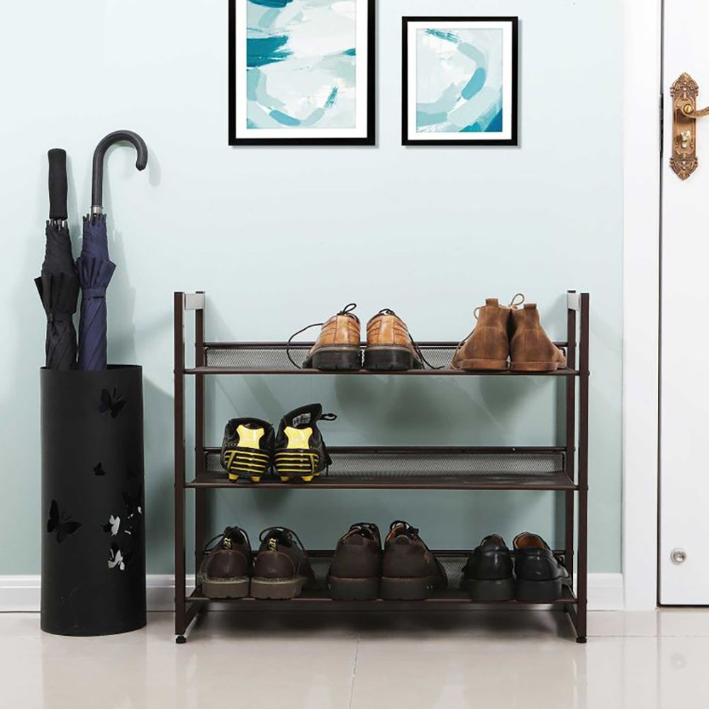 Best Shoe Storage for an Eclectic Style: Bronze Metal Shoe Rack with Adjustable Shelves ($31)