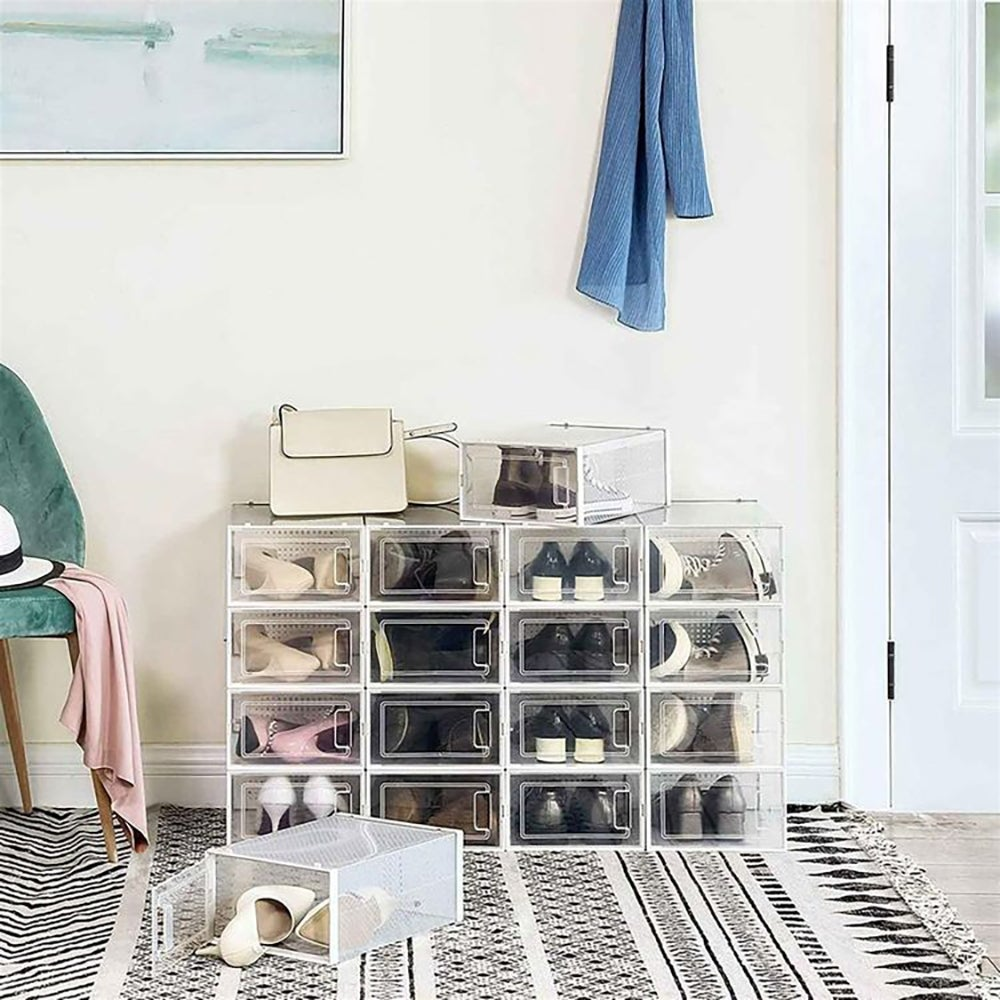 Best Shoe Rack for the Collector: 12 Stackable Shoe Boxes ($47)