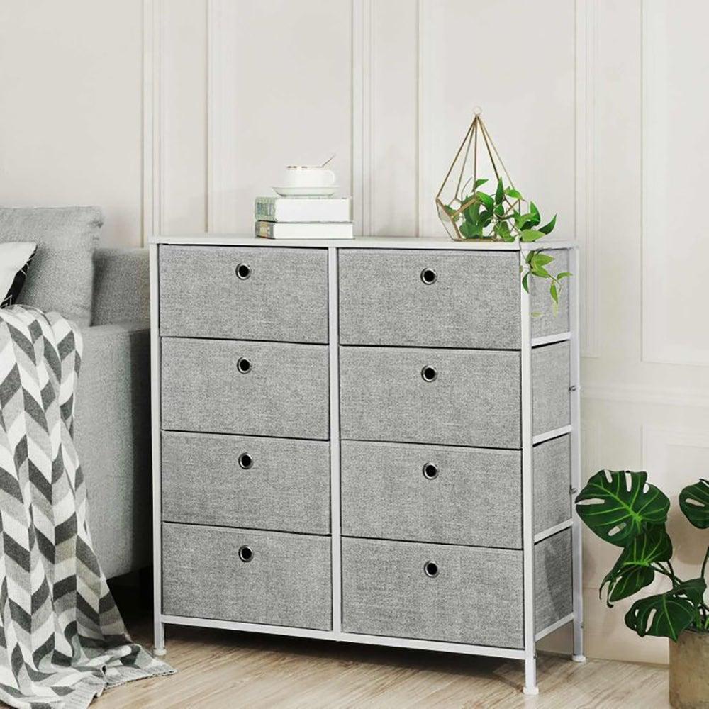 Best Fabric Dresser: Gray & White 4-Tier Storage Dresser with Fabric Drawers ($69)