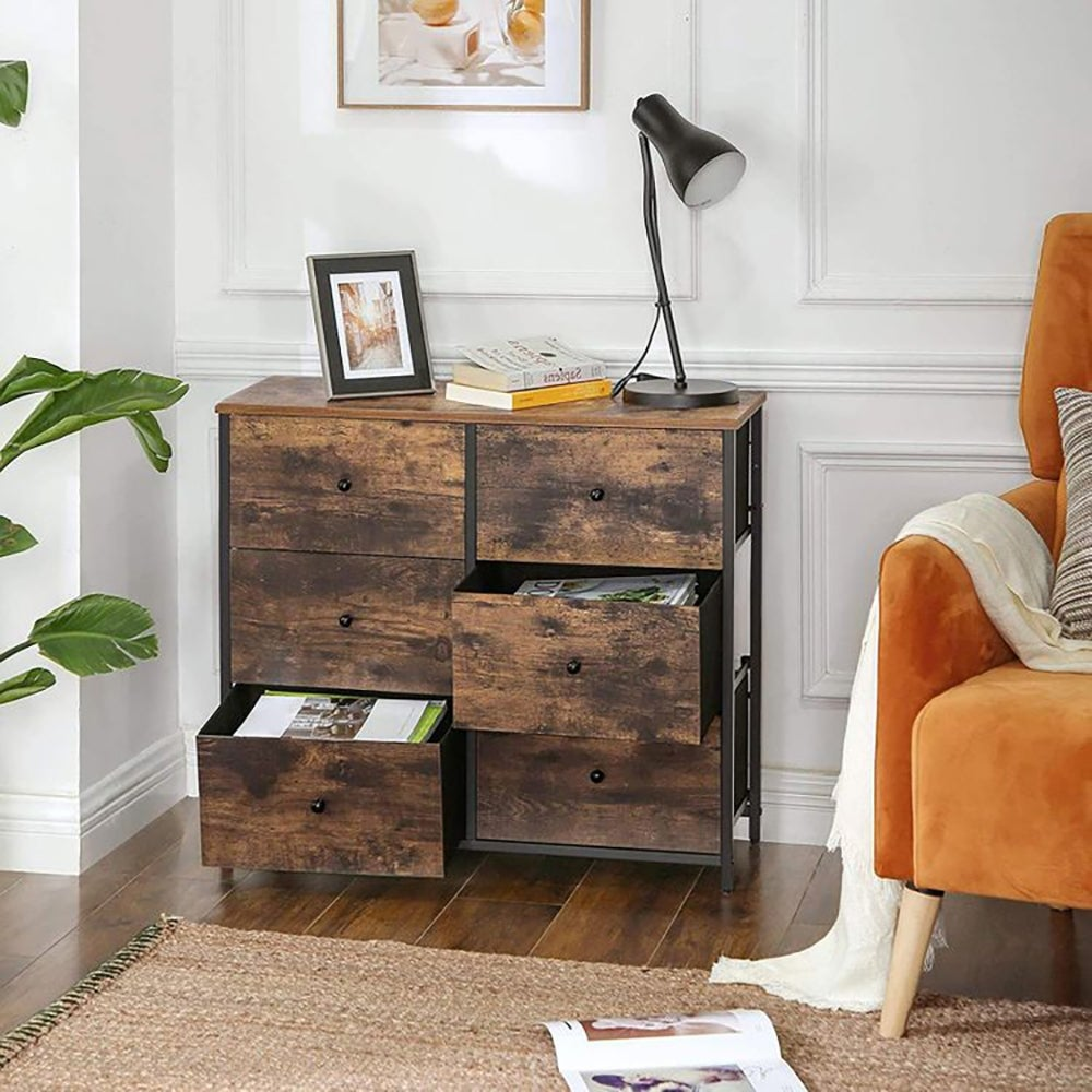 Best Wooden Dresser: Rustic Brown Chest of Drawers with Fabric Drawers ($82)