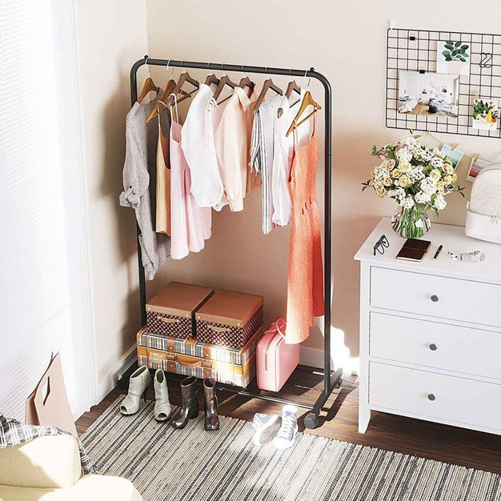 Best Clothing Storage: Clothes Rack with Wheels ($35)
