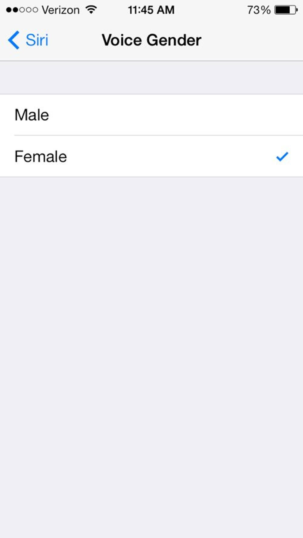 You can also switch Siri's voice to male if you want. Go to Settings > General > Siri > Voice Gender.