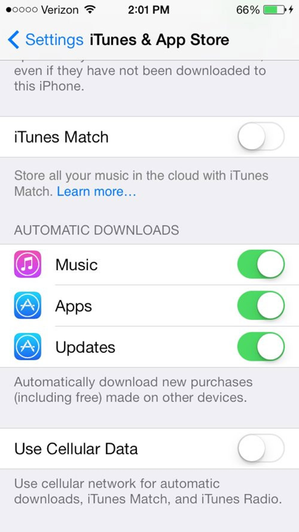 """You can tell iOS 7 to automatically update your apps without opening the App Store. Go to Settings > iTunes & App Store and switch the """"Updates"""" option to green under the Automatic Downloads section."""