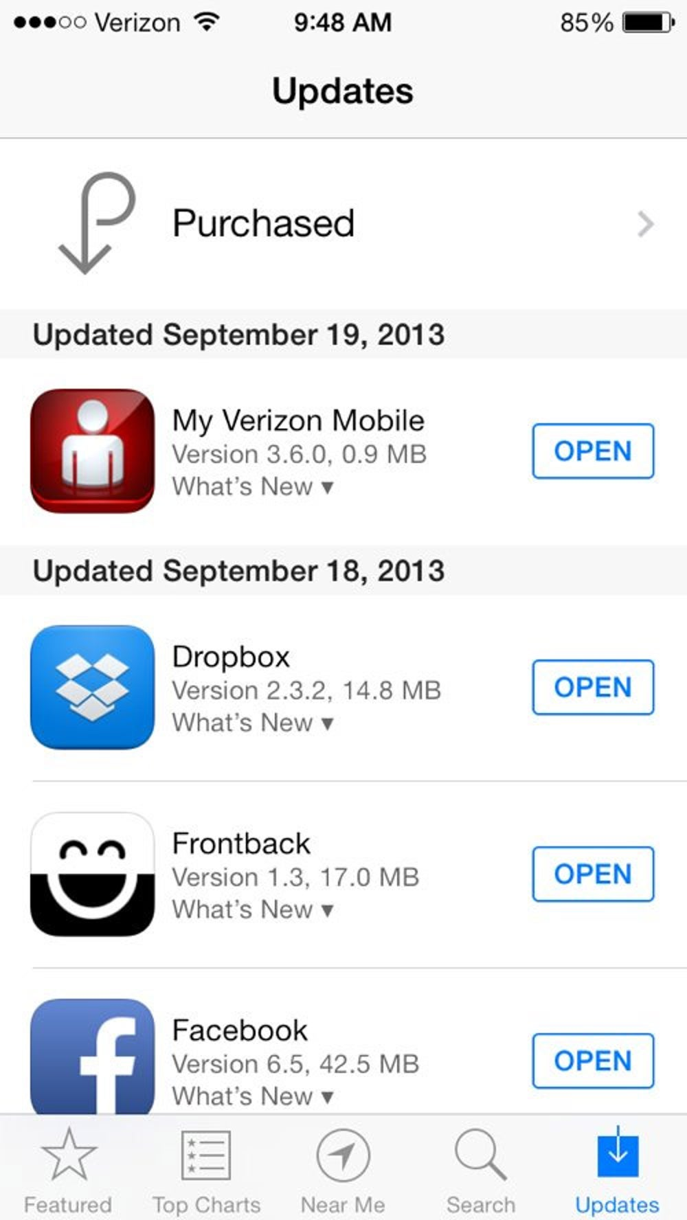 If you open up the App Store and tap the Updates tab, you get a quick snapshot of recently updated apps on your phone.