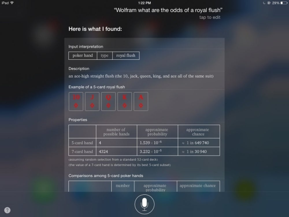 "Use Siri as your poker sidekick and learn the rarity of various card hands by asking, ""Wolfram, what are the odds of a ______?"""