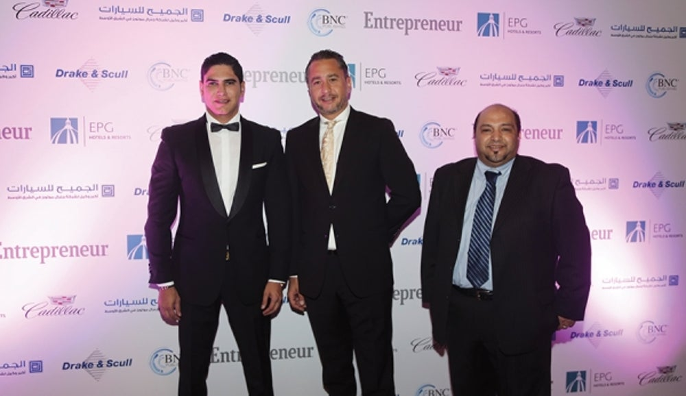KSA Enterprise Agility Awards, Entrepreneur of the Year 2015. Ahmed Abou Hashima with BNC Publishing's Mr. Walid Zok