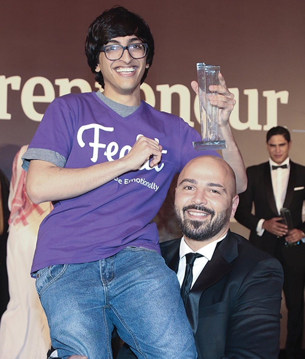 Feelit CEO and co-founder Mr. Mohammad AlQadi with BNC Publishing Director Mr. Wissam Younane celebrating the startup's Mobile App Innovation award