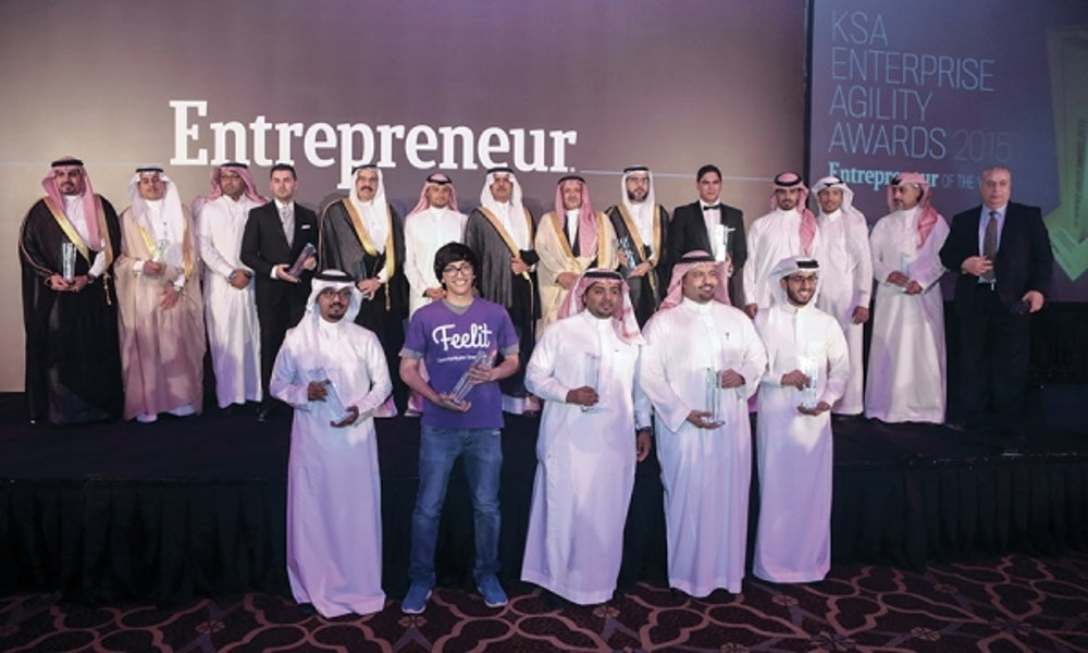 The KSA Enterprise Agility Awards, Entrepreneur of the Year 2015 winners with HRH Prince Khaled bin Alwaleed bin Talal and Riyadh Chamber of Commerce and Industry, Vice Chairman of the board of directors Mr. Khalid Abdulaziz S. Al-Mukairan