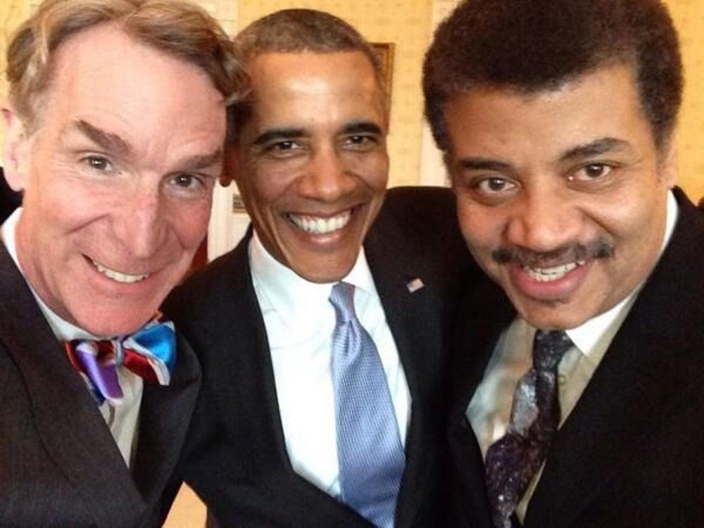 Smart-guy sandwich selfie