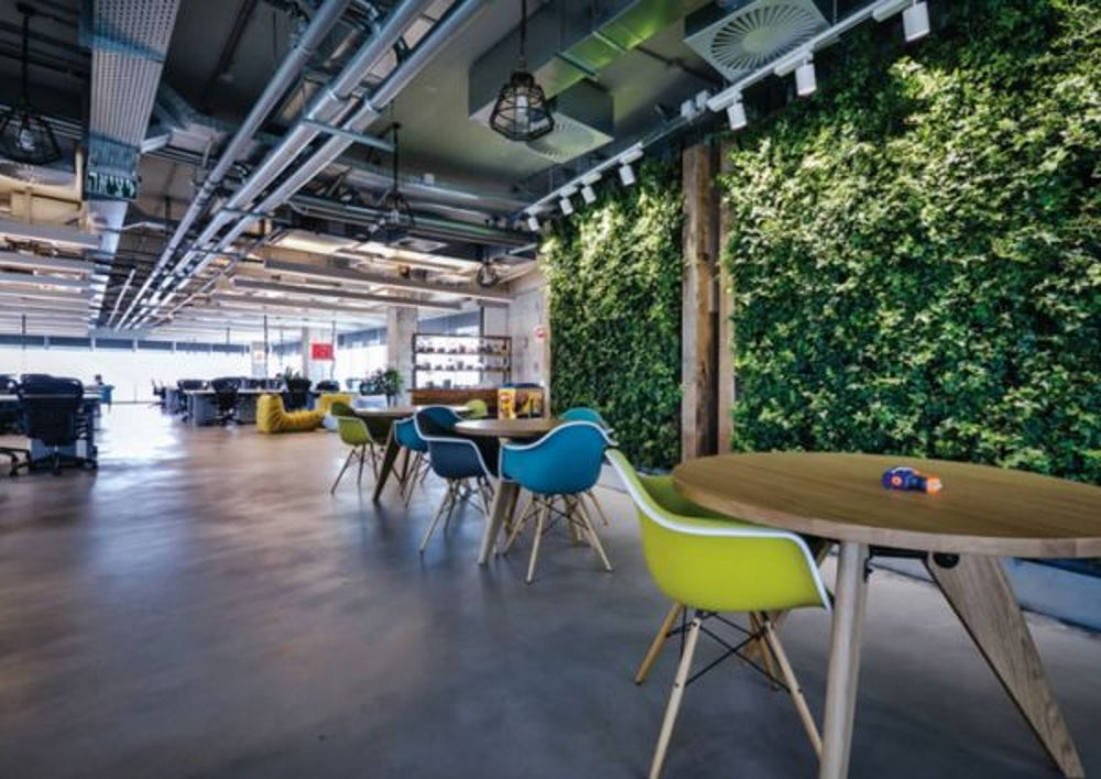 5. When an office space integrates the outdoors inside and uses local elements