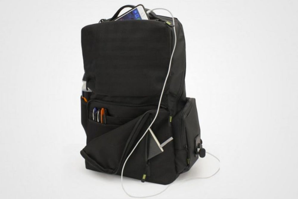 3. Backpack with a portable battery