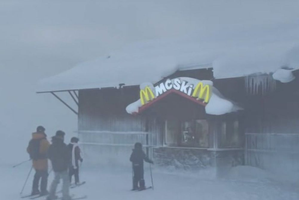 At a Swedish ski resort, you can ski thru a McDonald's.