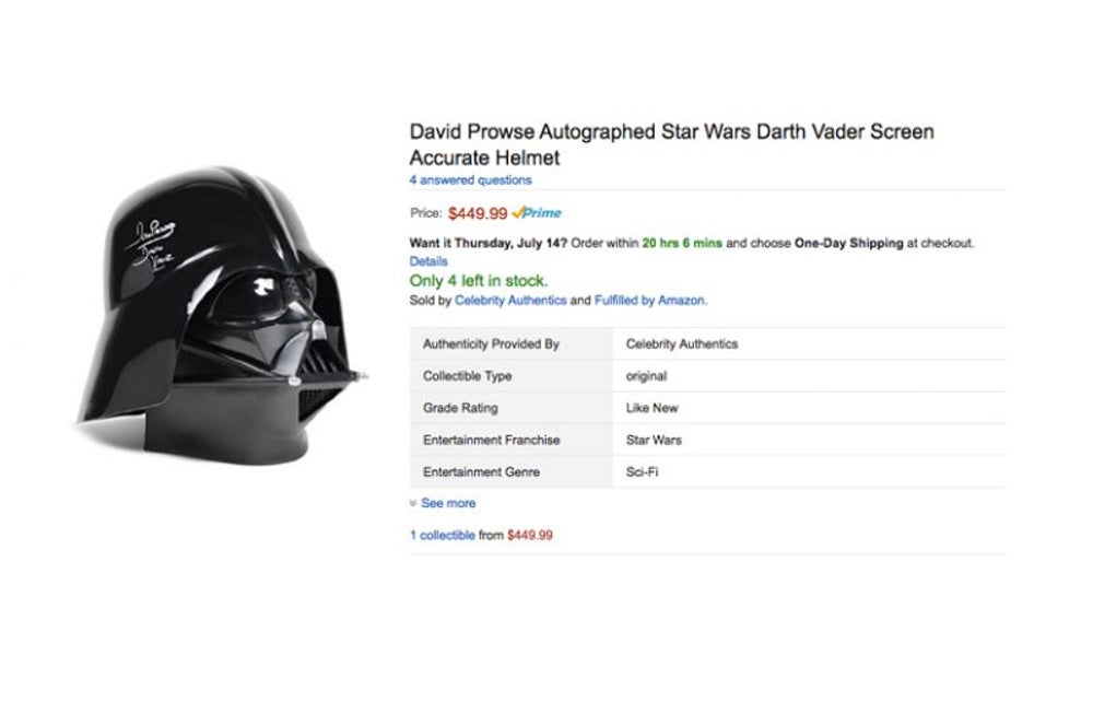 This autographed Darth Vader Helmet