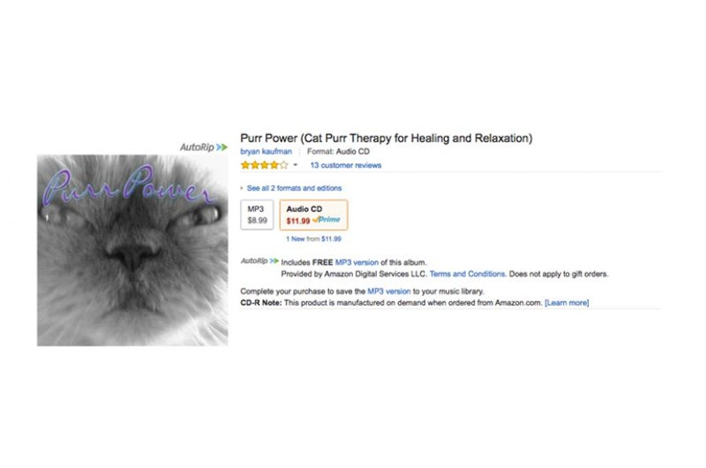 This absolutely real, we didn't make it up, CD that uses cat purrs for relaxation.