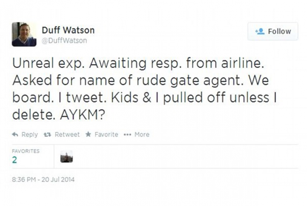 Tweeting about an airline agent