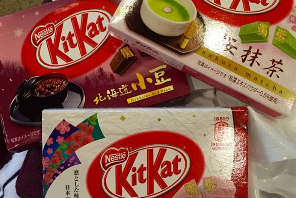 An unusual variety of KitKat flavors