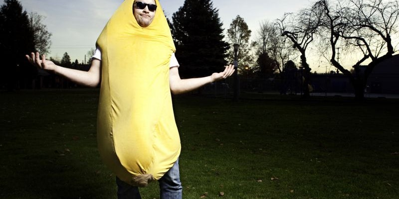 In a banana suit with a mariachi band