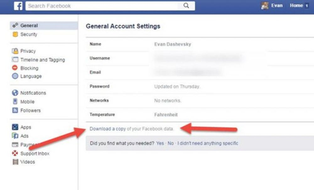 Download a Copy of All Your Facebooking