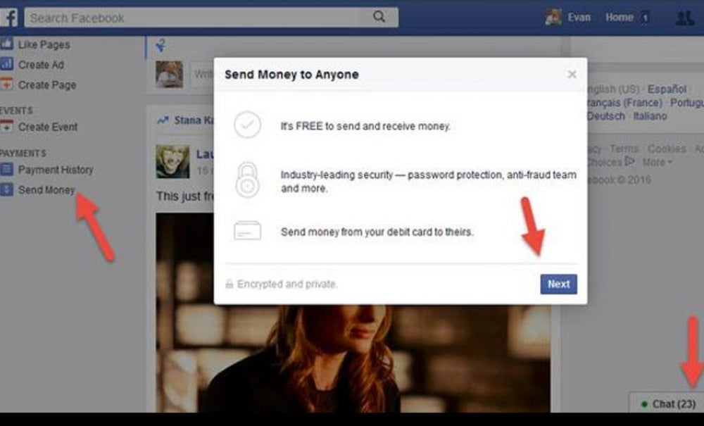 Send Money Through Facebook