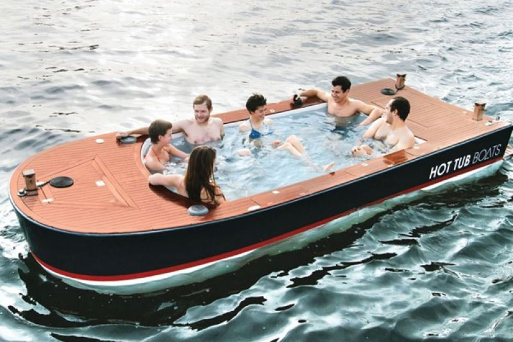 Hammacher Schlemmer's outrageous hot tub boat