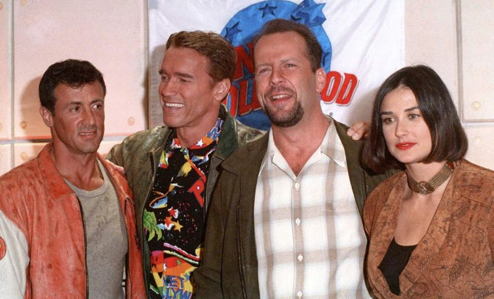 Sylvester Stallone, Bruce Willis, Demi Moore, Arnold Schwarzenegger
