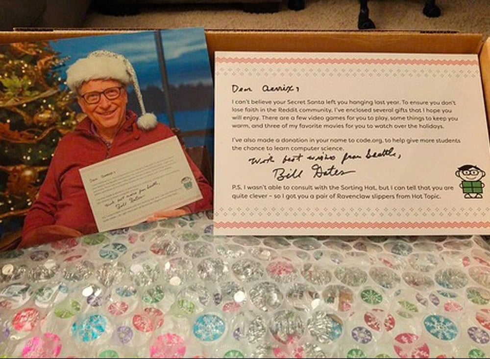First thing she saw was his photo and a signed note from him to verify that Bill Gates really was her Secret Santa.