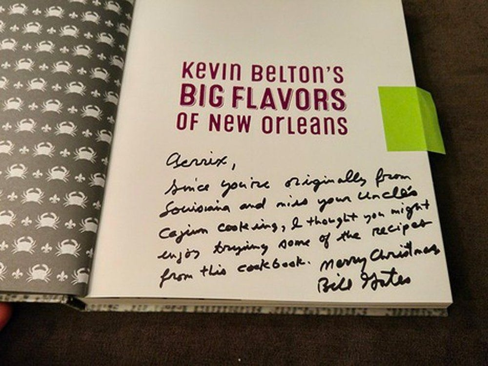 """And he got her a Cajun cookbook because her profile says she's from southern Louisiana and misses her family's home cooking. On the book was a handwritten note that said, """"Aerrix, Since you're originally from Louisiana and miss your Uncle's Cajun cooking, I thought you might enjoy trying some of the recipes from this cookbook."""""""