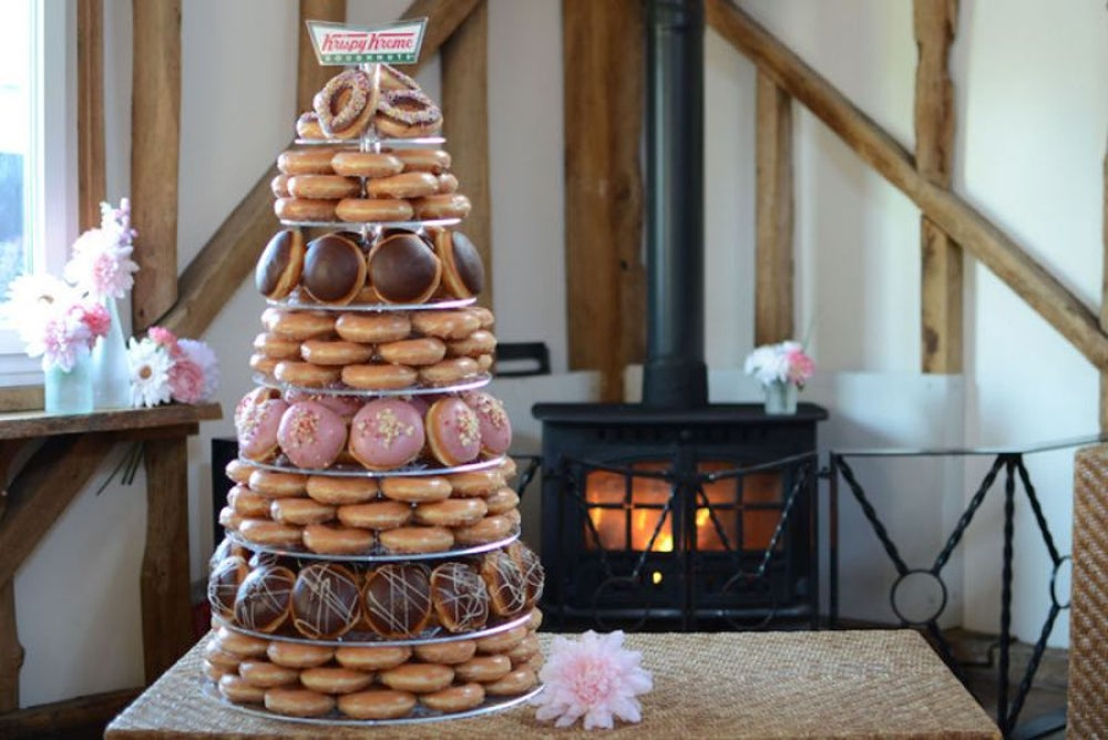You can order a custom-made Krispy Kreme wedding cake.
