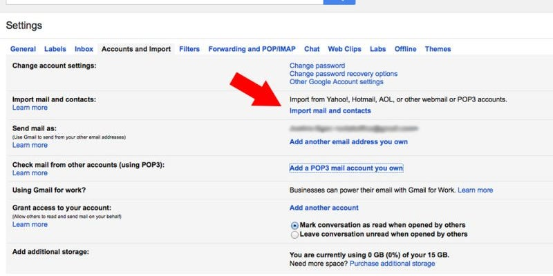 Import contacts and emails from other email accounts.