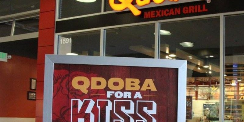 Share a kiss at Qdoba for a free second meal.