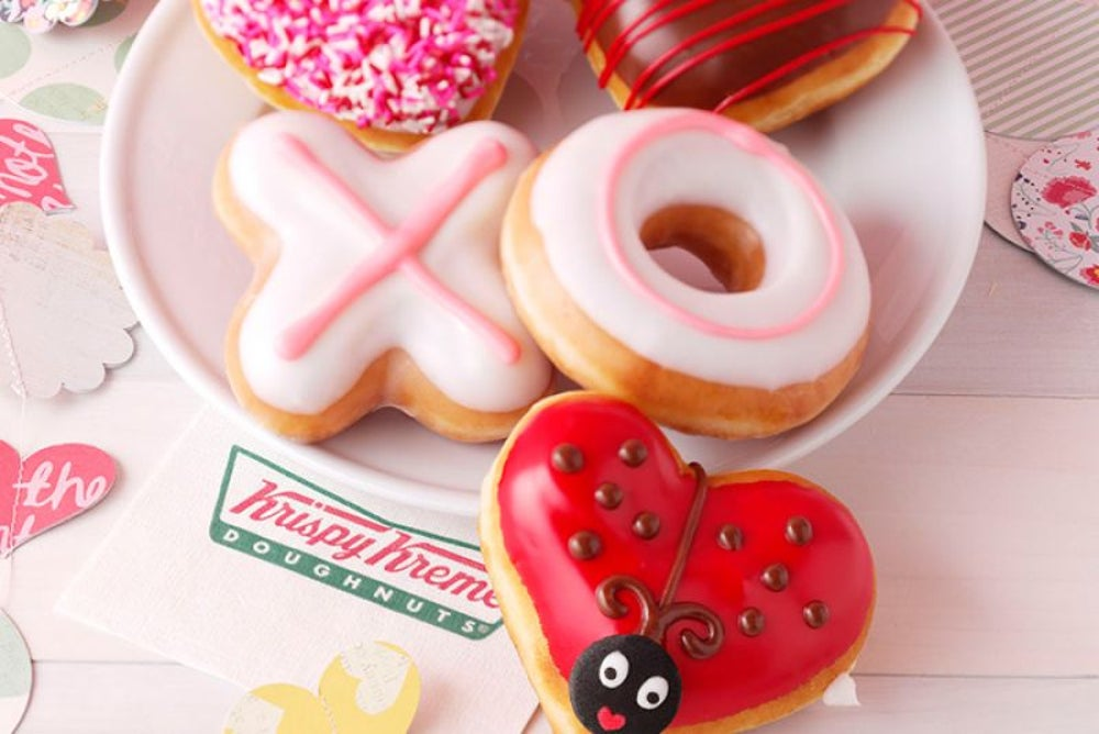 Enjoy some Krispy Kreme Valentine Doughnuts.
