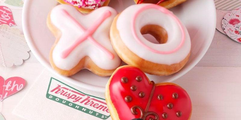 Enjoy some Krispy Kreme Valentine Doughnuts.