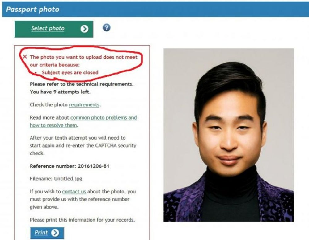 "Robot passport checker rejects Asian man's application because ""eyes are closed."""