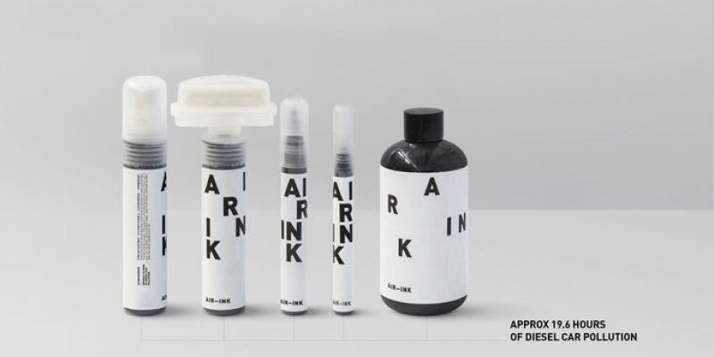 Pens with ink made from air pollution